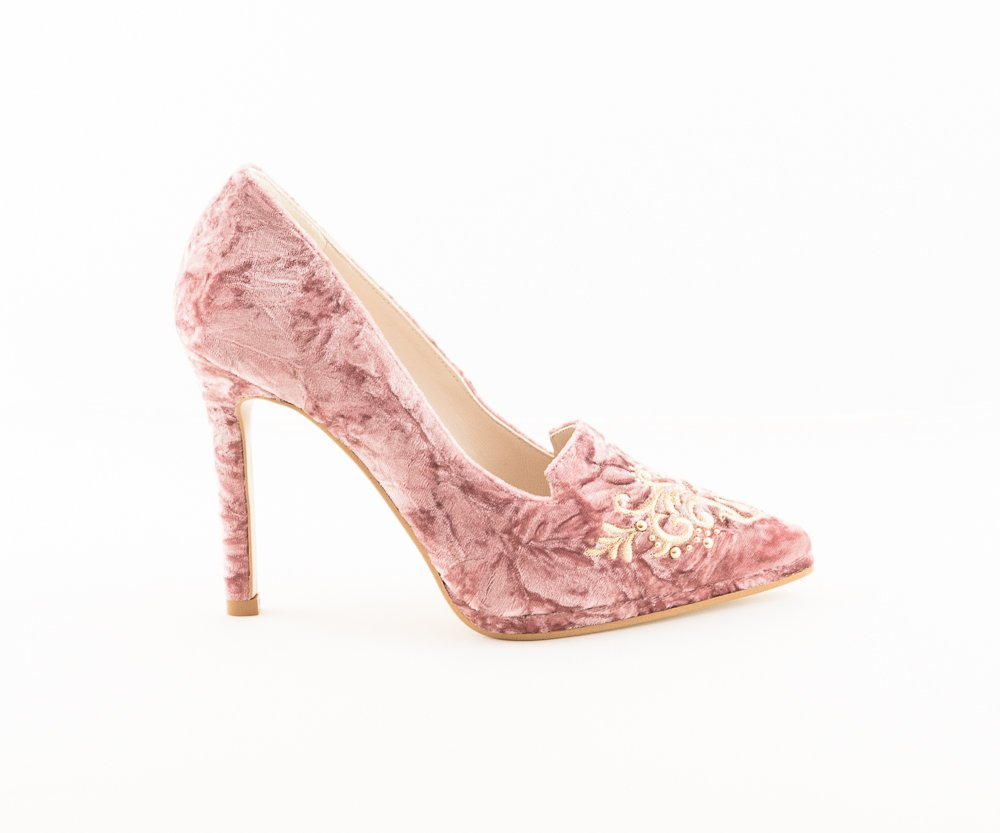 Zapato novia e invitada salon stiletto Lodi Queen rosa - LoveStoryNovias