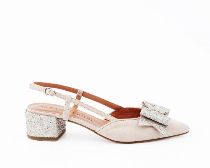 zapato tacón bajo glitter