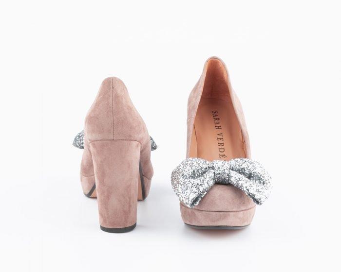 zapato lazo glitter novia