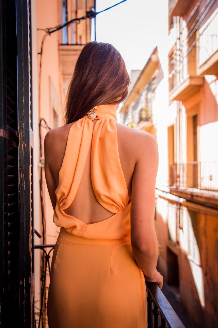 vestido invitada blanca mandarina