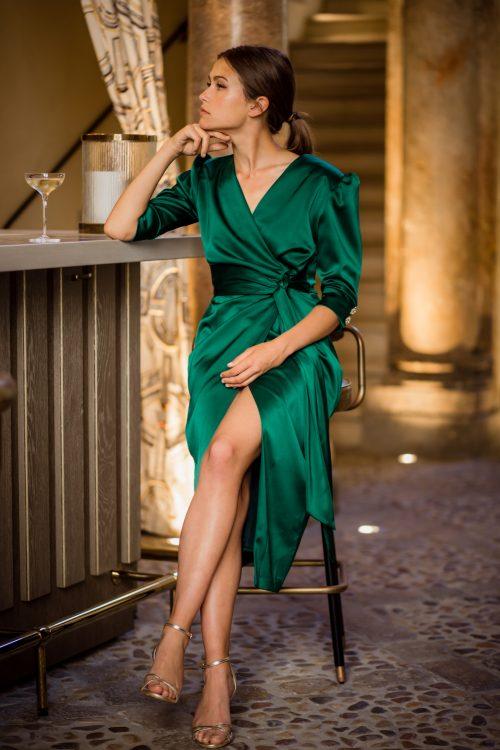 vestido invitada Bimba verde